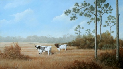 """Okeechobee Cattle Landscape"" 2009, Oil on canvas, 20 x 34 inches, Signed lower left"