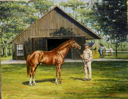 """Secretariat"" Oil on canvas, 16 x 20 inches, Signed"