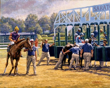 """Starting Gate"" Oil on canvas, 16 x 20 inches, Signed"