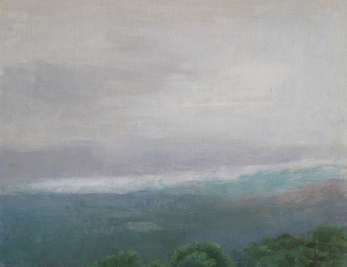 """Grandfather Mountain, Cloudy Morning"" 2013, oil on linen, 14 x 18 inches"