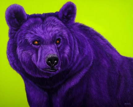 """Bear in Purple"" Archival pigment print on watercolor paper, 34 x 44 inches, Edition of 24, Signed and numbered, Embossed with studio seal of Certificate of Authenticity"