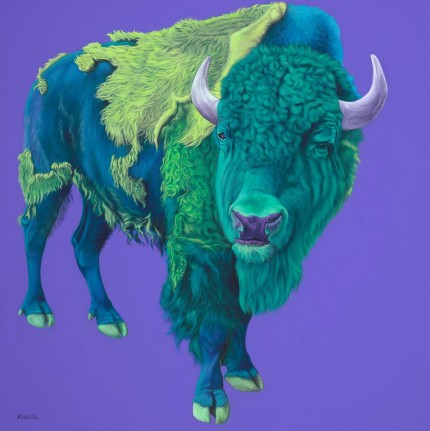 """Bison on Purple"" Archival pigment print on watercolor paper, 24 x 24 inches, Edition of 24, Signed and numbered, Embossed with studio seal of Certificate of Authenticity"