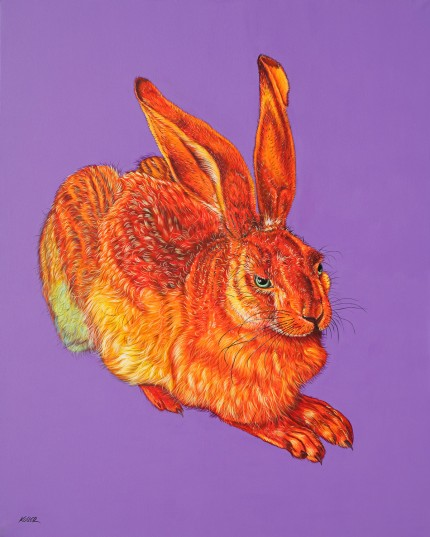 """Dürer Hare in Orange"" Archival pigment print on watercolor paper, 44 x 36 inches, Edition of 24, Signed and numbered, Embossed with studio seal of Certificate of Authenticity"