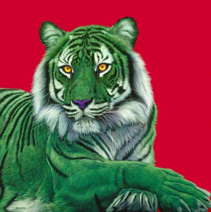 """Green Tiger on Red"" Archival pigment print on watercolor paper, 34 x 34 inches, Edition of 24, Signed and numbered, Embossed with studio seal of Certificate of Authenticity"