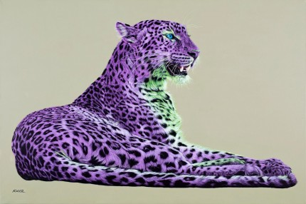 """Leopard in Magenta and Green"" Archival pigment print on watercolor paper, 32 x 48 inches, Edition of 24, Signed and numbered, Embossed with studio seal of Certificate of Authenticity"