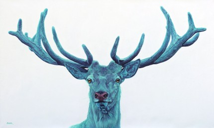 """Stag on White"" Archival pigment print on watercolor paper, 30 x 50 inches, Edition of 24, Signed and numbered, Embossed with studio seal of Certificate of Authenticity"