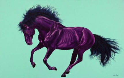 """Violet Horse on Aquamarine"" Archival pigment print on watercolor paper, 32 x 48 inches, Edition of 24, Signed and numbered, Embossed with studio seal of Certificate of Authenticity"