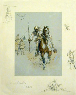 """Indian Cavalry"" Print, Titled and signed"