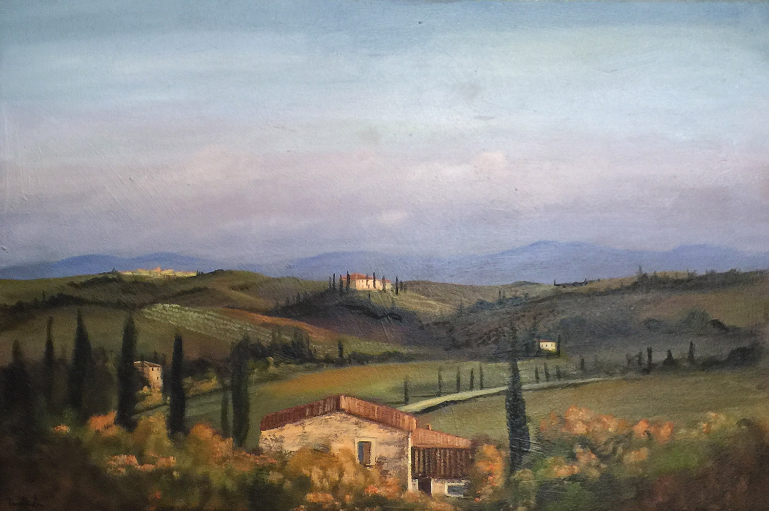 """""""Monte Saint Toli, Tuscany"""" Oil on canvas, 24 x 30 inches, Signed lower left"""