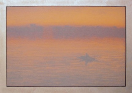 """Rowing in the Mist"" 2004, Lithograph, Edition of 25, 14.5 x 20.5 inches, Hand Gilded Metal Leaf Border"