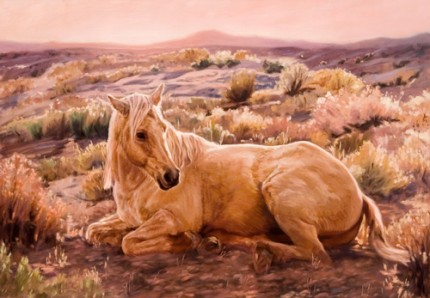 """Palomino Sunset"" Oil on panel mounted canvas, 24 x 36 inches, Signed"