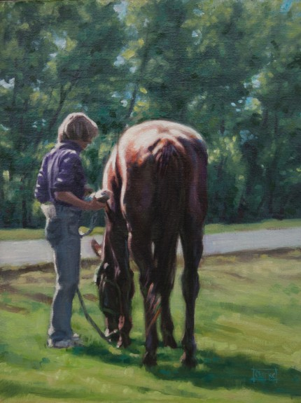 """Primping at the Show"" Oil on panel mounted canvas, 14 x 11 inches, Signed"