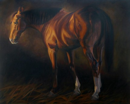 """Quarterhorse Quarterturn"" Oil on canvas, 48 x 60 inches, Signed"