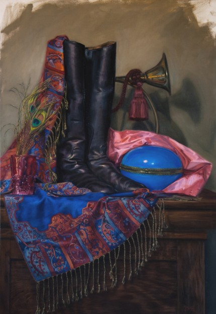 """Peacock, Egg and Boots"" Oil on canvas, 36 x 24 inches, Signed"