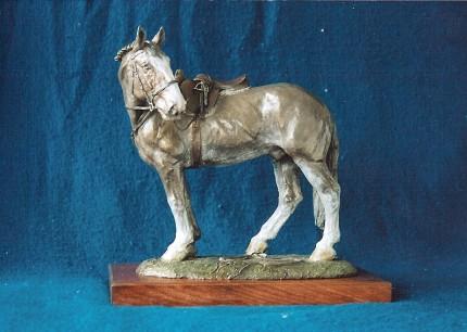 """""""Kirk Henckel's Hunter"""" Millbrook Hunt, 2006, Bronze, 10 x 8 x 8 inches"""