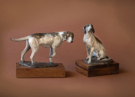 """Seated and Standing Hounds"" Bronze"