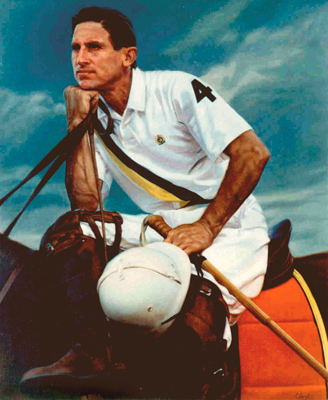 """Polo Player"" 1992, Oil on linen, 36 x 28 inches, Signed. Commission for Ralph Lauren/Polo"