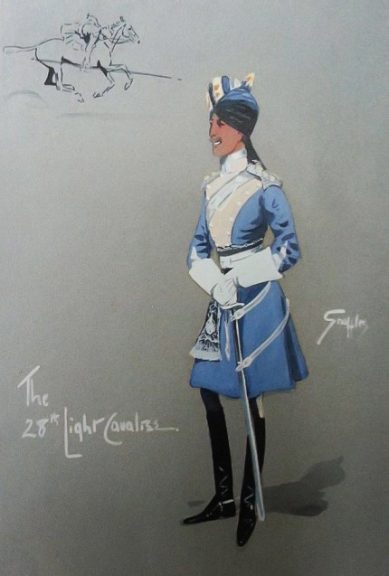 """The 28th Light Cavalree"" Original watercolour, Titled and signed"