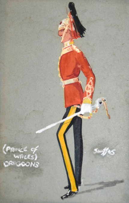 """The Prince of Wales Dragoons"" c. 1913, Watercolor, 7 x 5 inches, Signed in gouache"