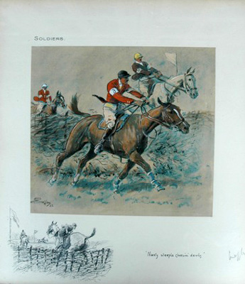 """Soldiers"" c.1922, Print, 23 x 16 inches, with .75"" black frame, Signed in pencil with Snaffles blind stamp, Good condition"