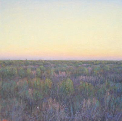 """Twilight near Hebronville"" 2011, Oil on linen, 42 x 42 inches, Signed"