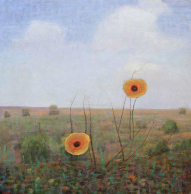 """Two Yellow Flowers, Transplanted"" 2012, Oil on linen, 42 x 42 inches, Signed"