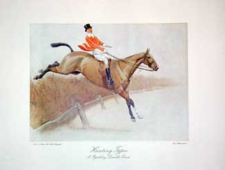 Set of Four Hunting Types: A Pytchley Double Oxer Lithograph (one of four), 13 x 16 inches (plate size)