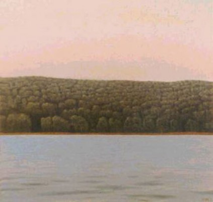 """""""East Bank, Hudson River"""" 2000, Oil on linen, 46 x 48 inches, Signed"""