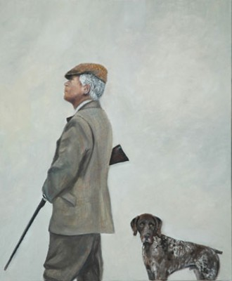 """""""Cazando con Ribot"""" (Hunting with Ribot) Oil on canvas, 50 x 60 cm, Dark wooden frame, Signed and Dated 2006"""
