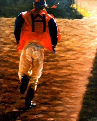 """Late Again"" 1985, Oil on canvas, 16 x 12 inches, Signed and Dated. Sold: Polo, Ralph Lauren Ltd."