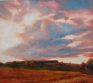 "Clouds Overshadow Wethersfield, 2003 Oil on linen, 16""x18"", Signed"