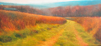 "Dutchess County, Route 22, Farm Lane Vortex, 2003, Oil on Linen, 22""x48"", Signed"