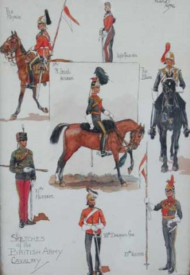 """Sketches of the British Army - Cavalry"" c.1906, Original watercolour with ink background, 11 x 8 inches, Signed: Charles Payne 