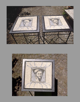 """Venice Visited"" Pair of mosaic tables on custom designed metal pole stands. The metal poles create a unique geometric pattern. 28 x 20 x 20 inches (70 x 50 x 50 cm) Signed"
