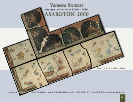 """Asaroton 2000"" Inspiration derived from the Ancient Roman Mosaic called Asaroton meaning unswept floor, Second Century A.D. 75 x 55 inches (1.7 x 1.4 meters)"