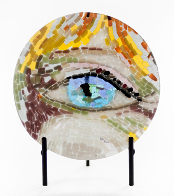 """Jane Fonda's Eye"" Fused glass mosaic with black metal stand, 12 inch diameter, Signed"