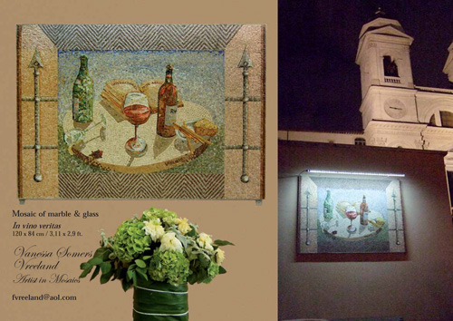 """""""In Vino Veritas"""" Mosiac of marble and glass, 120 x 84 cm"""