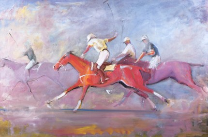 """Chasing Down the Field"" Oil on canvas, 24 x 36 inches, Signed"