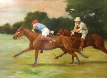 """Down the Field"" Oil on canvas, 18 x 24 inches, Signed"