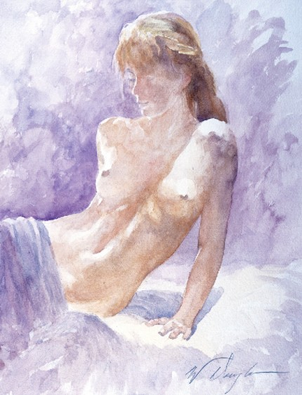 """Nude I"" Watercolour on paper, 15 x 11 inches, Signed"