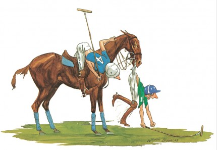 """Polo Caricatures III"" Watercolour on paper, 11 x 14 inches, Signed"
