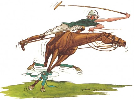 """Polo Caricatures IV"" Watercolour on paper, 11 x 14 inches, Signed"