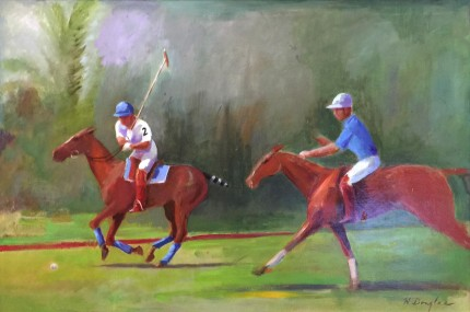 """Polo"" Oil on canvas, 30 x 40 inches, Signed"