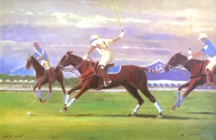 """Bridgehampton Polo"" Embellished Artist Proof, 24 x 36 inches, Signed"