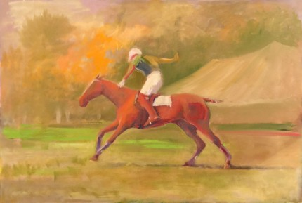 """Sunset Polo"" Oil on canvas, 20 x 30 inches, Signed"