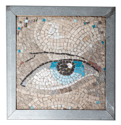 """Wise Eye"" Marble and glass mosaic in cement, framed in silver-coloured metal, 9 1/2 x 9 1/2 x 1 inches, Signed"
