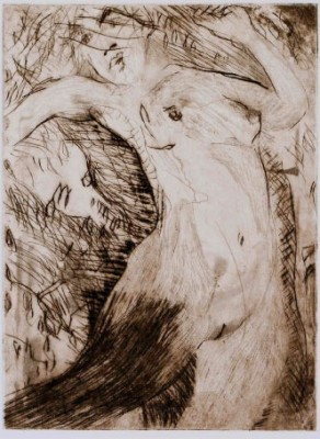 """Eurydice"" Etching on Arches paper, 10 x 8 inches, 1998"