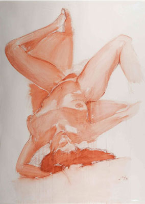 """""""Head at Bottom"""" Sanguine wash on Arches paper, 58 x 44 inches, 1994"""