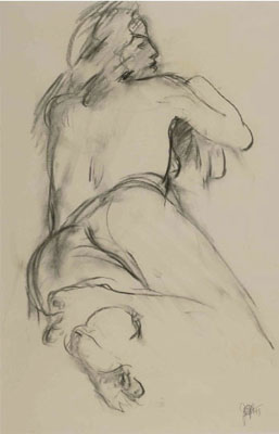 """""""Gazing Right"""" Charcoal on paper, 24 x 18 inches, 1993"""