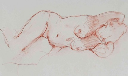 """Reclined Torso"" Chalk on paper, 18 x 12 inches, 1975"